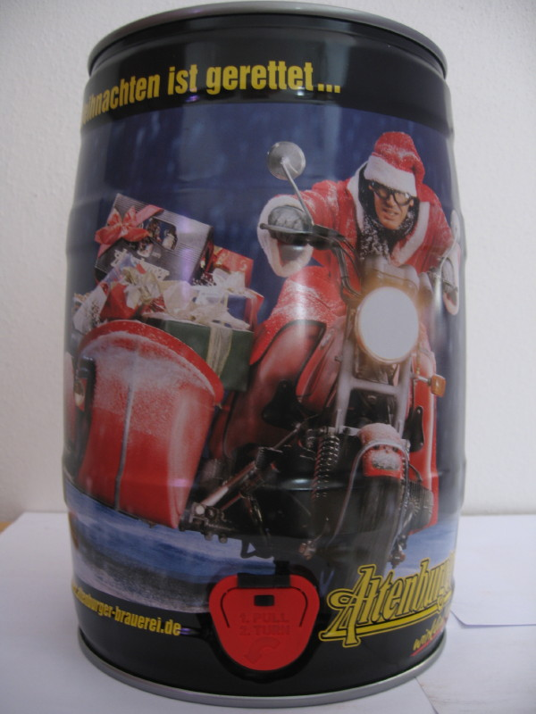 Altenburger santa claus in sidecar with presents